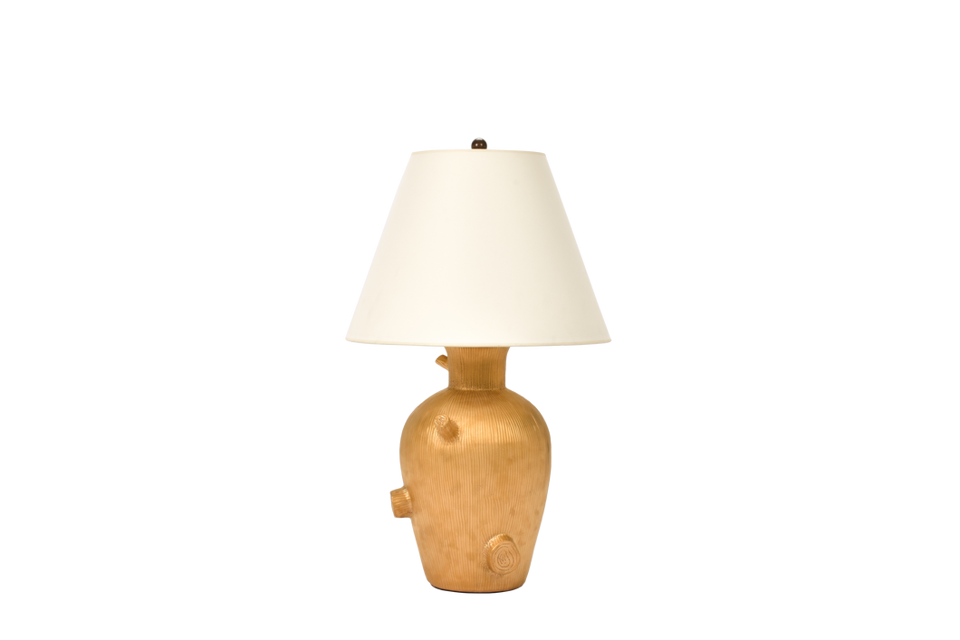 Faux Bois Lamp in Gold Luster