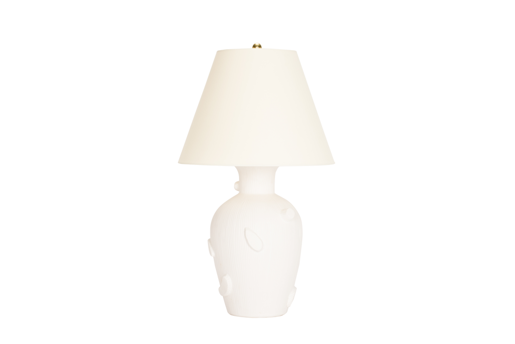 Faux Bois Lamp in Matte White