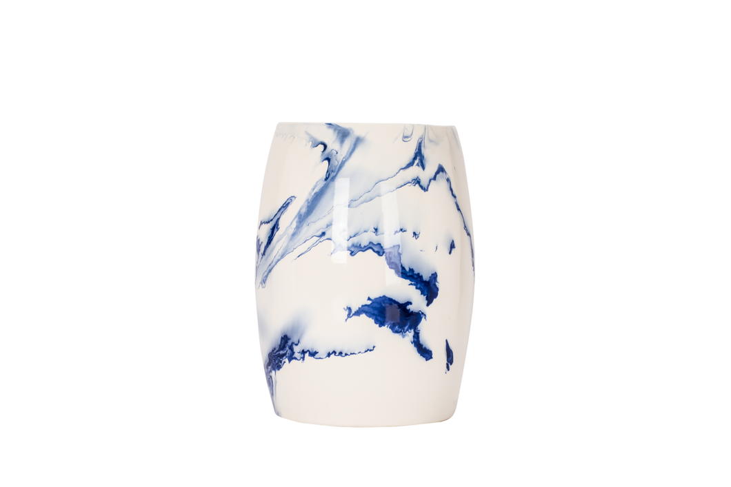 Garden Stool in Delft Blue Marble