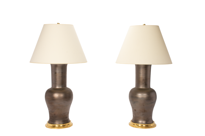 Garniture Lamp Pair in Matte Bronze