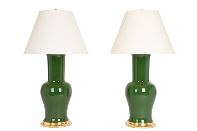 Garniture Lamp Pair in Dark Green