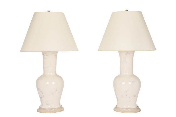 Garniture Lamp Pair in Heather Grey Marble