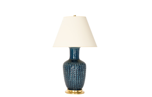 Ginger Jar Lamp with Basket Weave in Prussian Blue