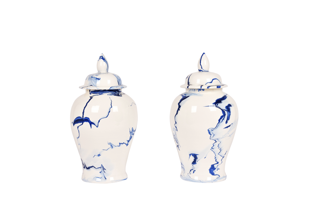 Ginger Jar with Lid Pair in Delft Blue Marble