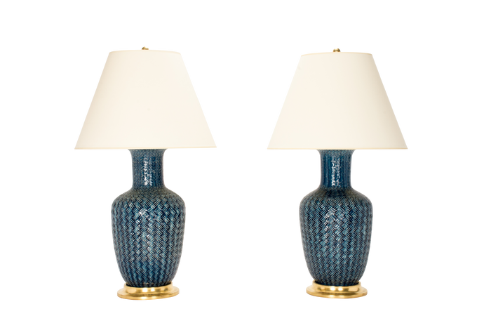 Ginger Jar with Basket Weave Lamp Pair in Prussian Blue