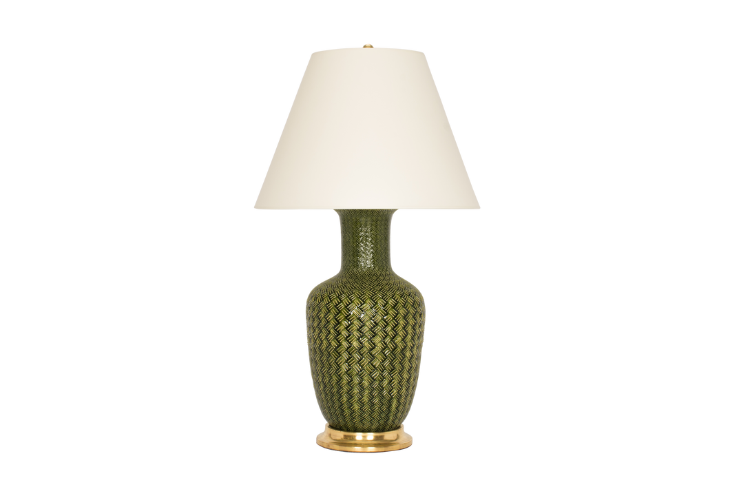 Ginger Jar with Basket Weave Lamp in Spruce