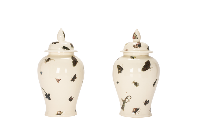 Ginger Jar with Lid Pair in Flora and Fauna