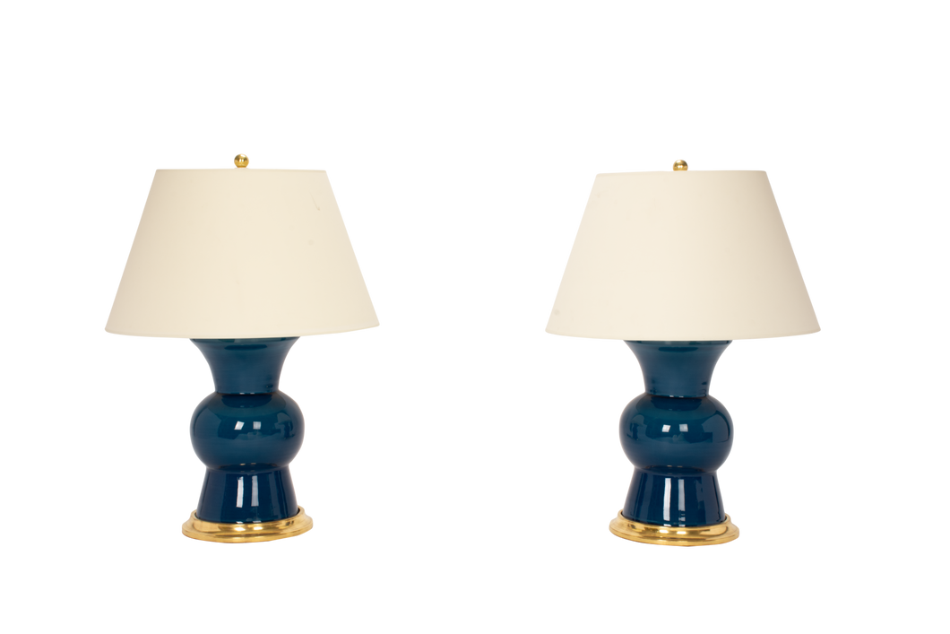 Gregory Lamp Pair in Prussian Blue