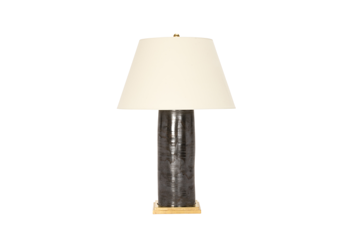 Hand Thrown Porcelain Column Lamp in Matte Bronze