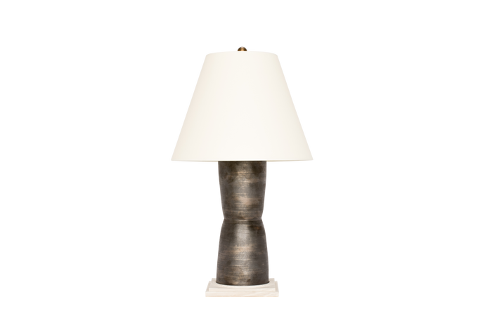 Hand Thrown Modern Hourglass Lamp in Matte Bronze