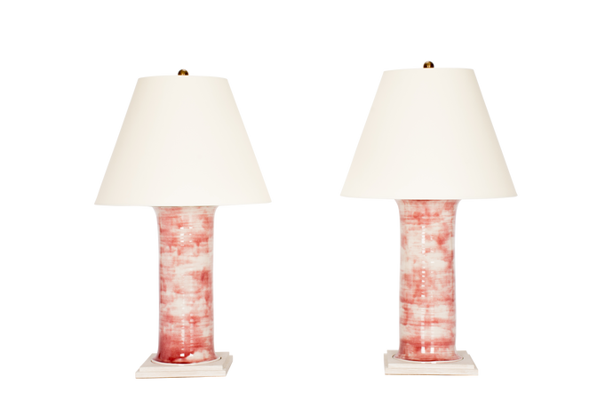 Hand Thrown Patricia Medium Lamp Pair in Mottled Cranberry