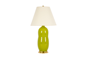 Hand Thrown Peanut Lamp in Chartreuse