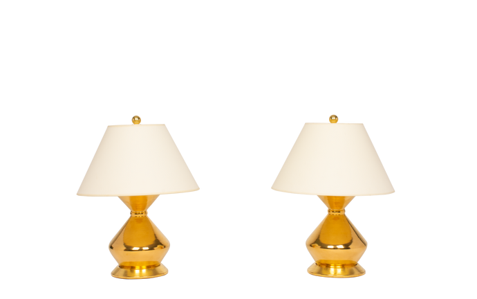 Hager Small Lamp Pair in Gold Luster