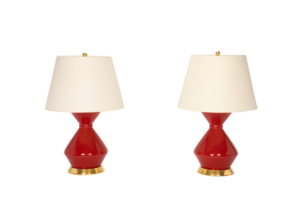 Hager Medium Lamp Pair in Raspberry