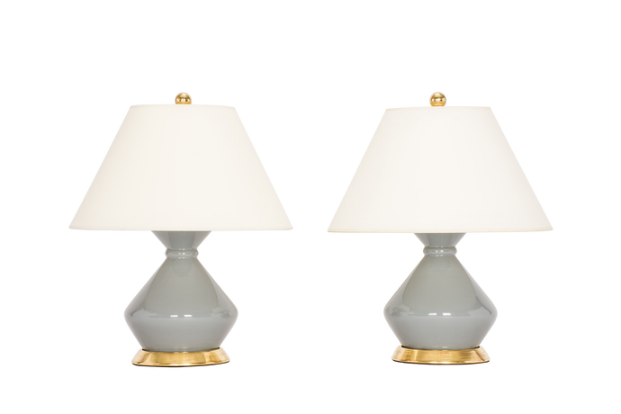 Hager Small Lamp Pair in Blue Grey
