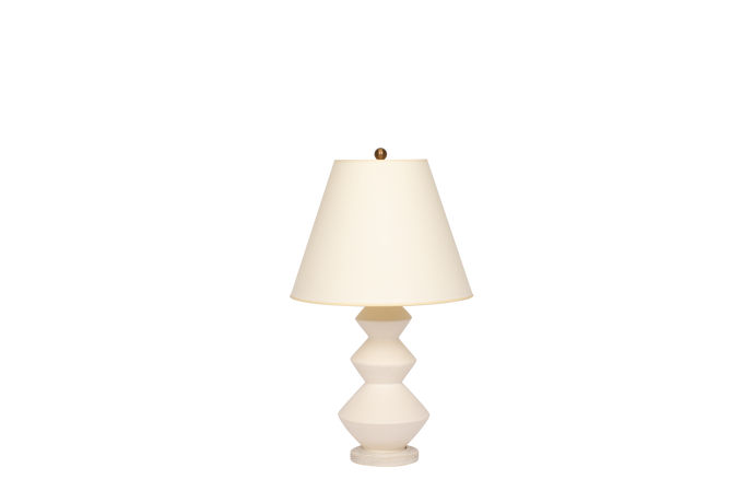 Hand-Thrown Triple Zig Zag Lamp in Matte White