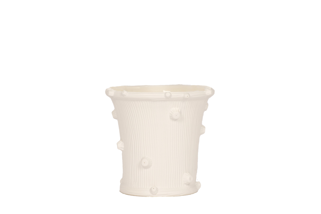Large Round Faux Bois Cache Pot in Matte White Without Handles