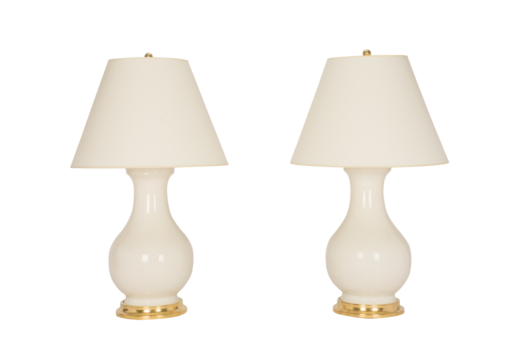 Hann Large Lamp Pair in Clear Crackle