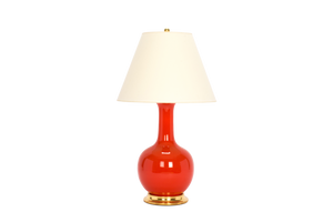 Single Gourd Large Lamp in Coral