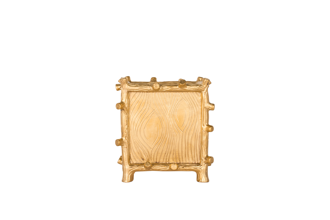 Large Square Faux Bois Cache Pot in Matte Gold Luster