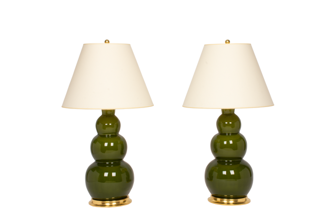 Three Ball Large Lamp Pair in Spruce