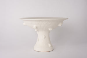 Hand Thrown Large Faux Bois Pedestal Bowl in Matte White