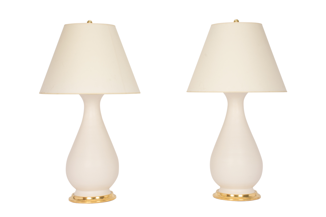 Louisa Large Lamp Pair in Matte White