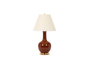 Single Gourd Large Lamp in Amber