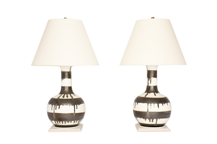 Single Gourd Large Lamp Pair in Matte White with Matte Bronze Stripes