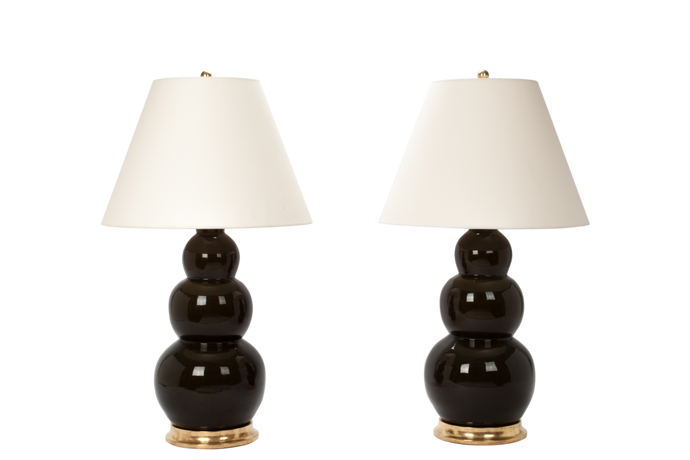 Three Ball Large Lamp Pair in Olive