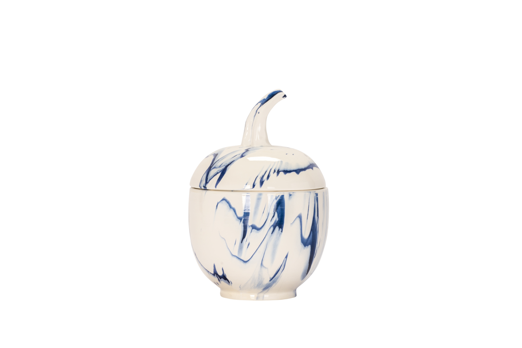 Lidded Gourd with Stem in Delft Blue Marble