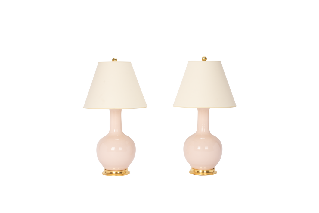 Lindsay Lamp Pair in Blush Pink