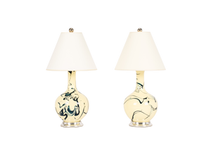 Lindsay Lamp Pair in Custom Marble