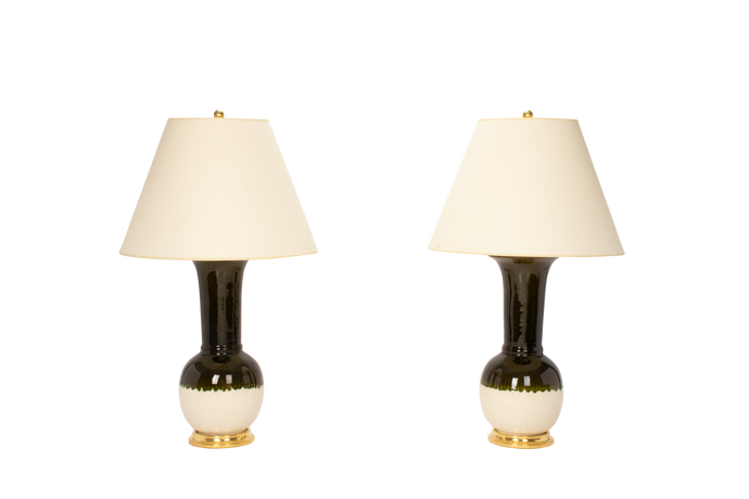 Alexandra Lamp Pair in Olive Ombre