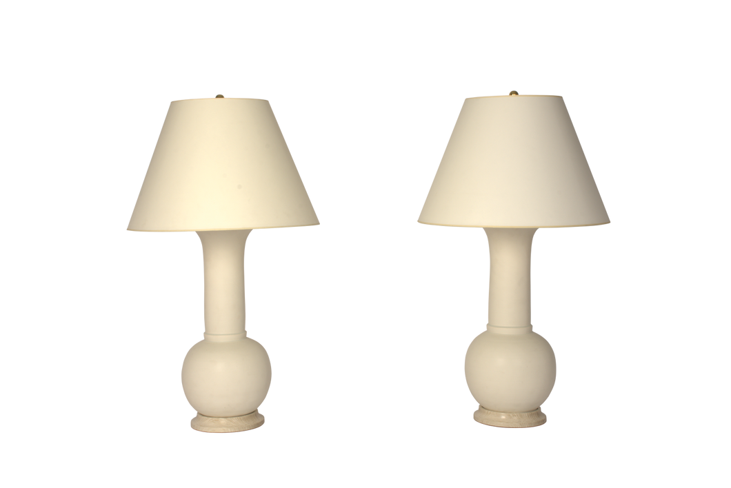 Alexandra Lamp Pair in Matte White