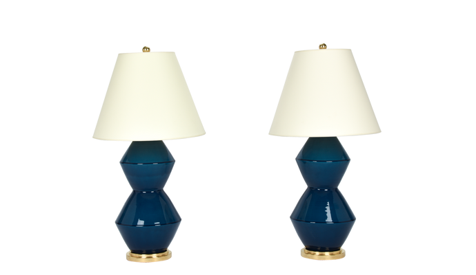 David Medium Lamp Pair in Prussian Blue