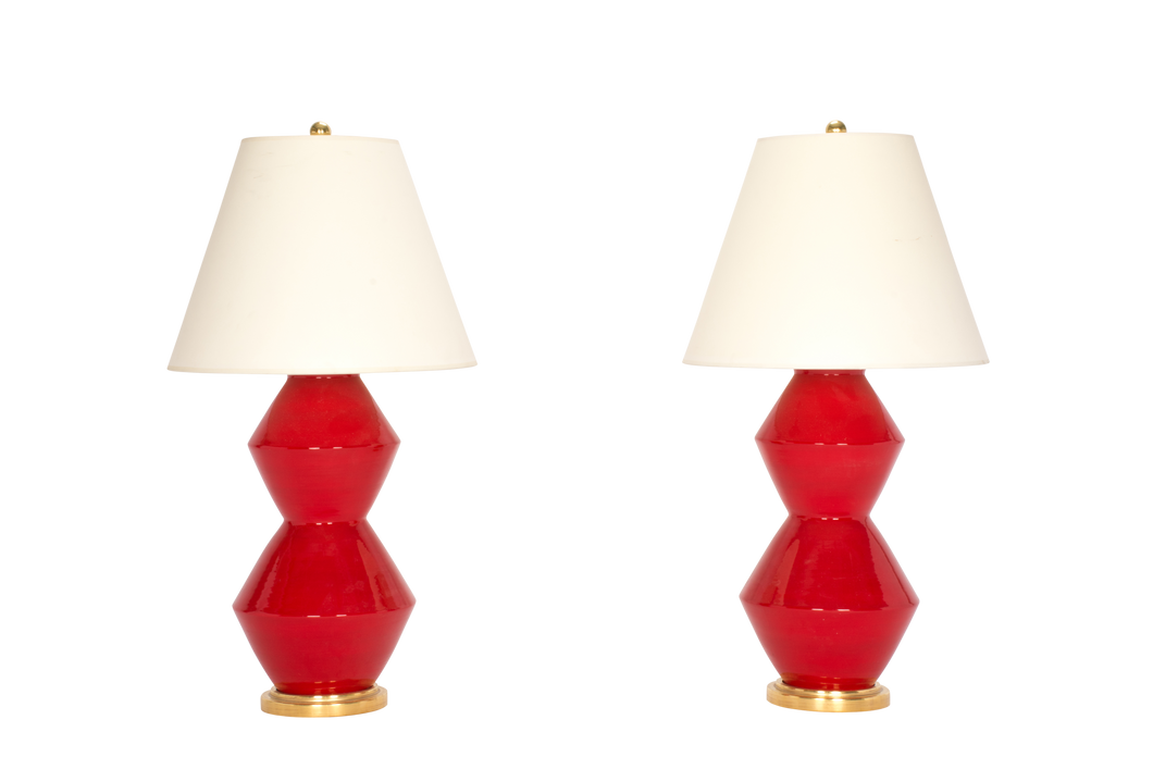 David Medium Lamp Pair in Red