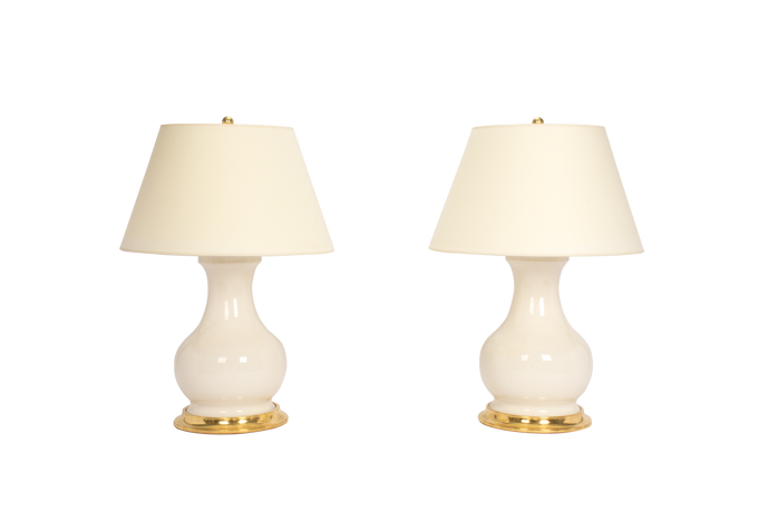 Hann Medium Lamp Pair in Clear Crackle