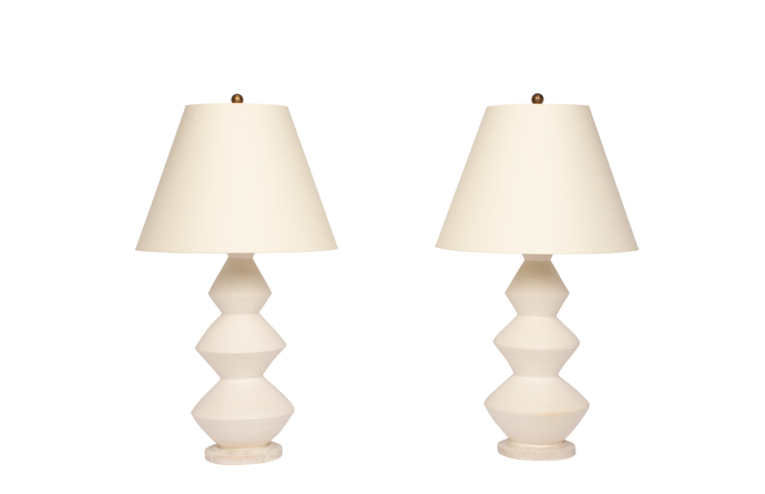 Triple Zig Zag Medium Lamp Pair in Matte White