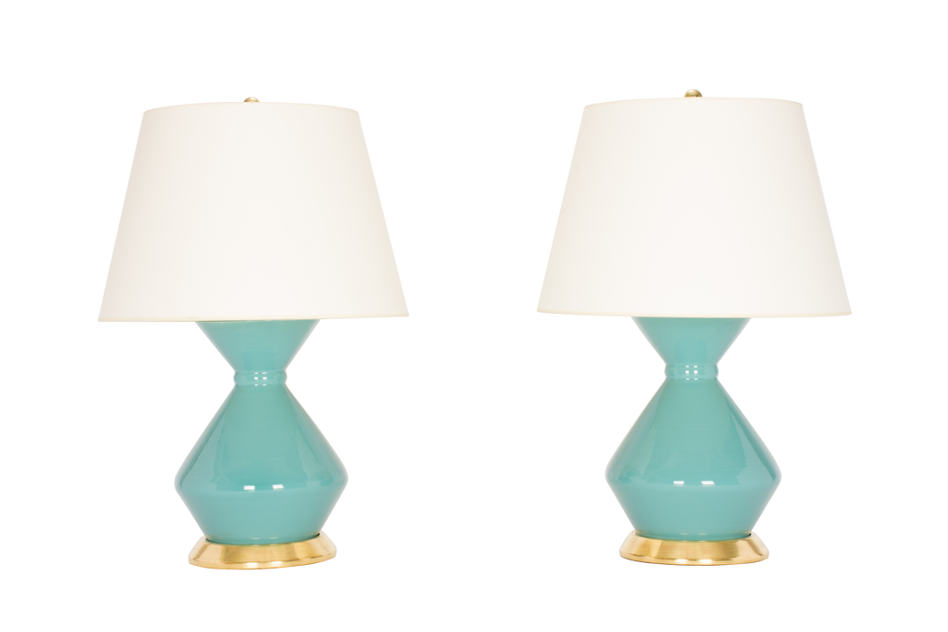 Hager Medium Lamp Pair in Aqua