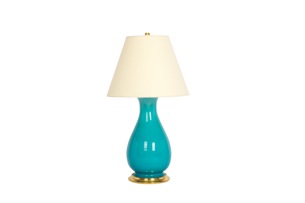 Louisa Medium Lamp in Light Blue Crackle