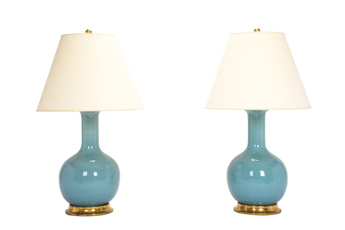 Single Gourd Medium Lamp Pair in Hydrangea