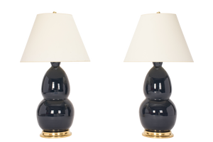 Modern Double Gourd Lamp Pair in Navy