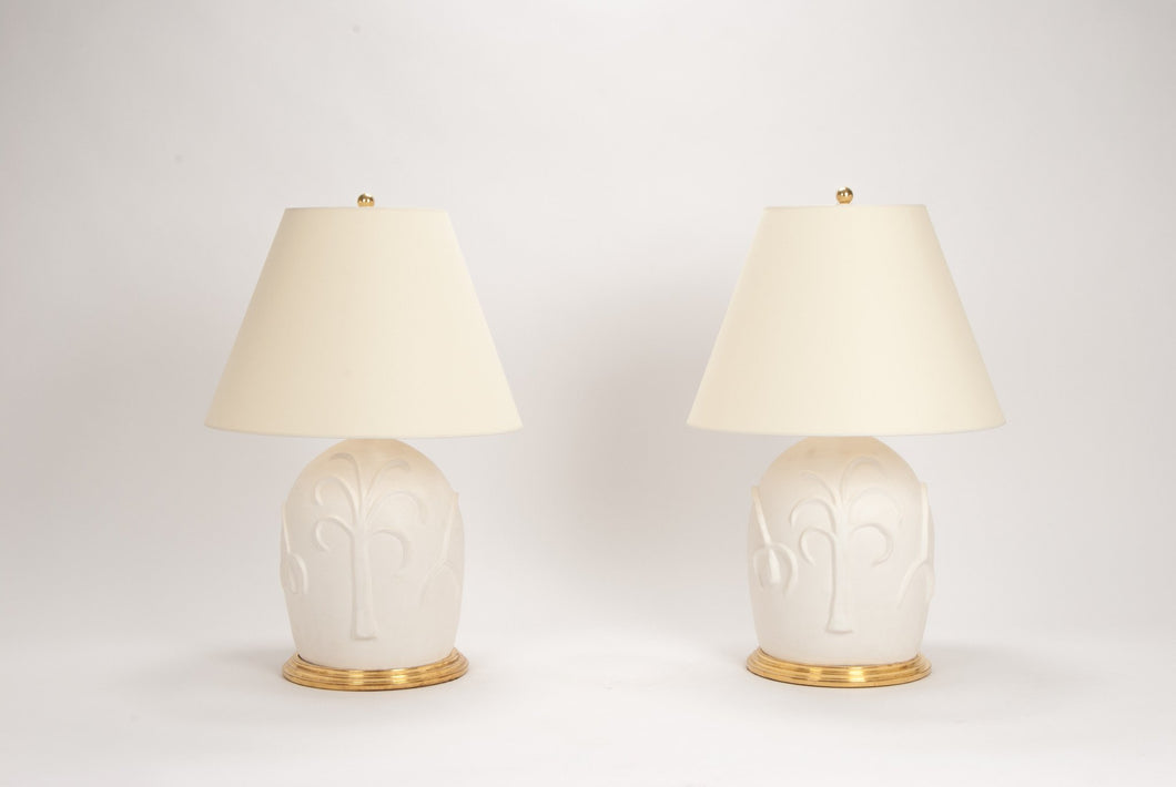 Mound Lamp Pair in Matte White