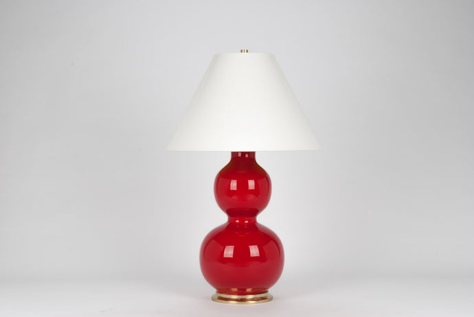 Natalie Lamp in Cardinal Red with Brass Base