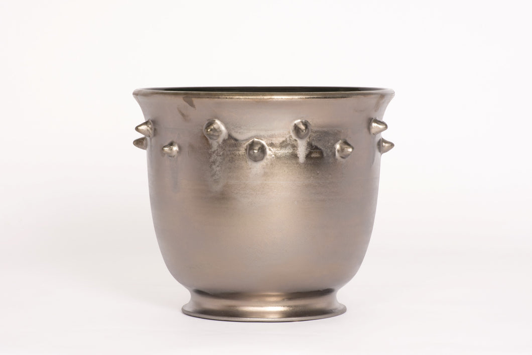 Orchid Pot with Studs in Matte Bronze