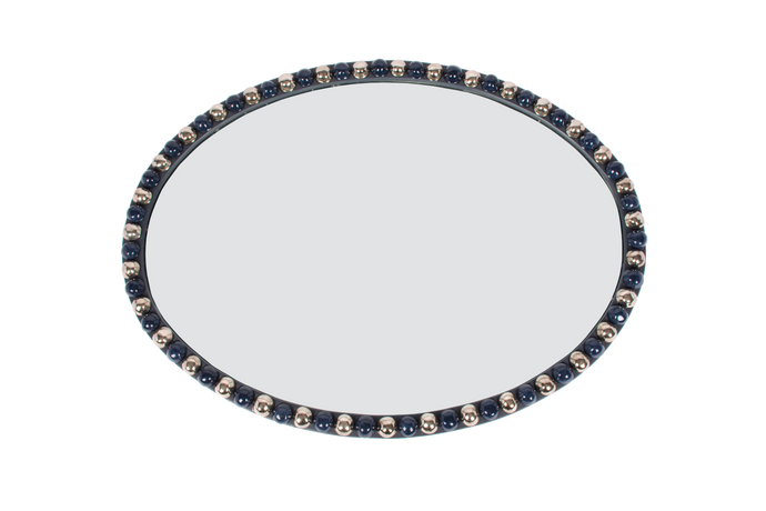 36-Inch Oval Irish Mirror in Blue with Navy and Platinum Luster Buttons
