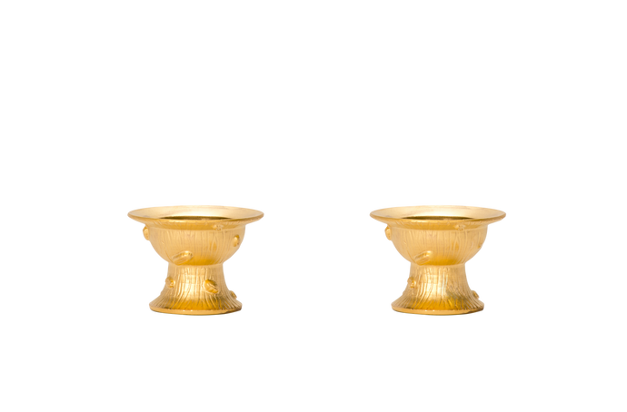 Pair of Faux Bois Salt Cellars in Matte Gold Luster