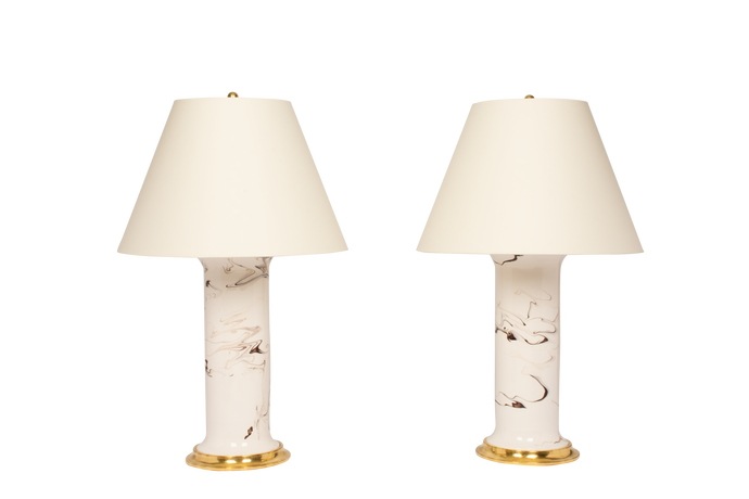 Patricia Large Lamp Pair in Brown Marble