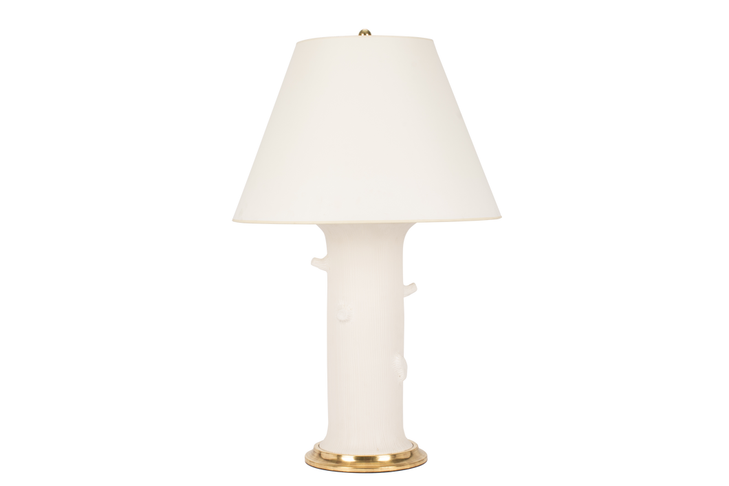 Patricia Large Lamp with Faux Bois in Matte White